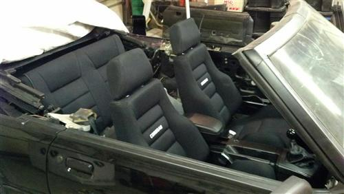 Mustang Corbeau Rear Seat Upholstery Black Cloth (83-93) Convertible