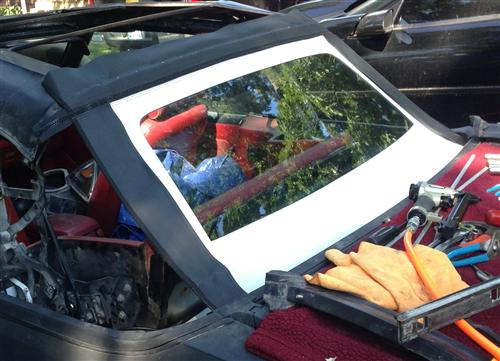 Mustang Convertible Glass Window White  (83-93)