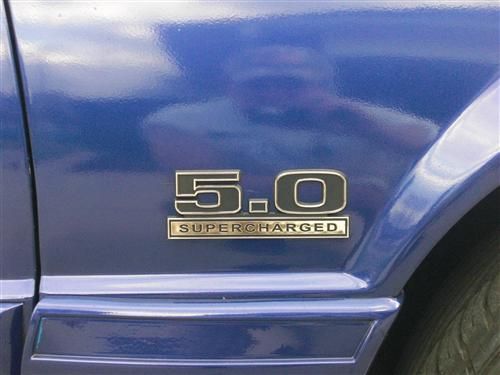 Mustang 5.0L Supercharged Fender Emblem Black