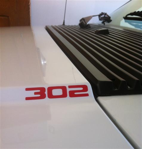 Mustang 302 Hood Scoop Decal Red